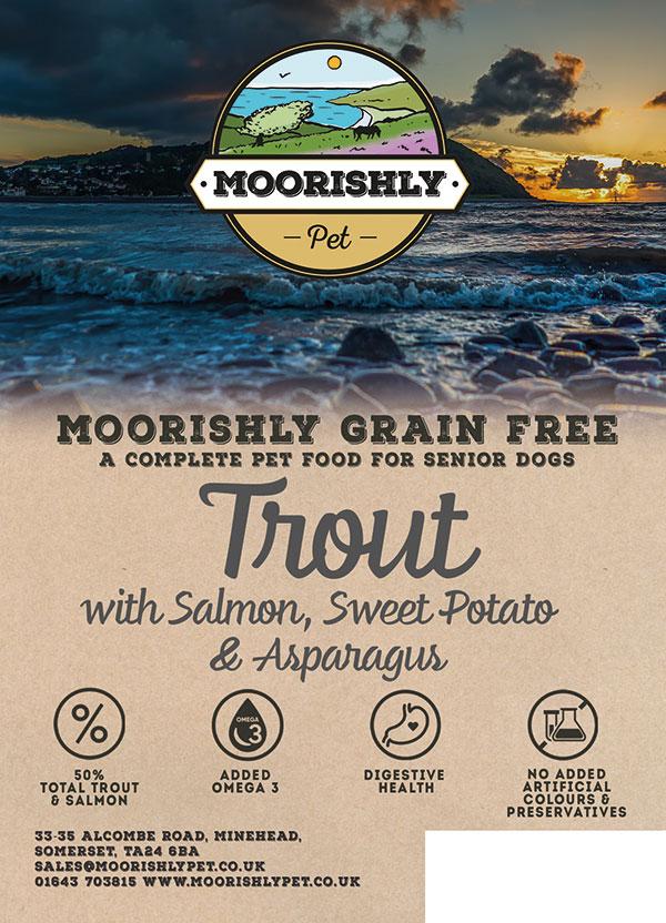 Moorishly Grain Free Senior Dog Food Fish Trout with Salmon-Sweet Potato and Asparagus