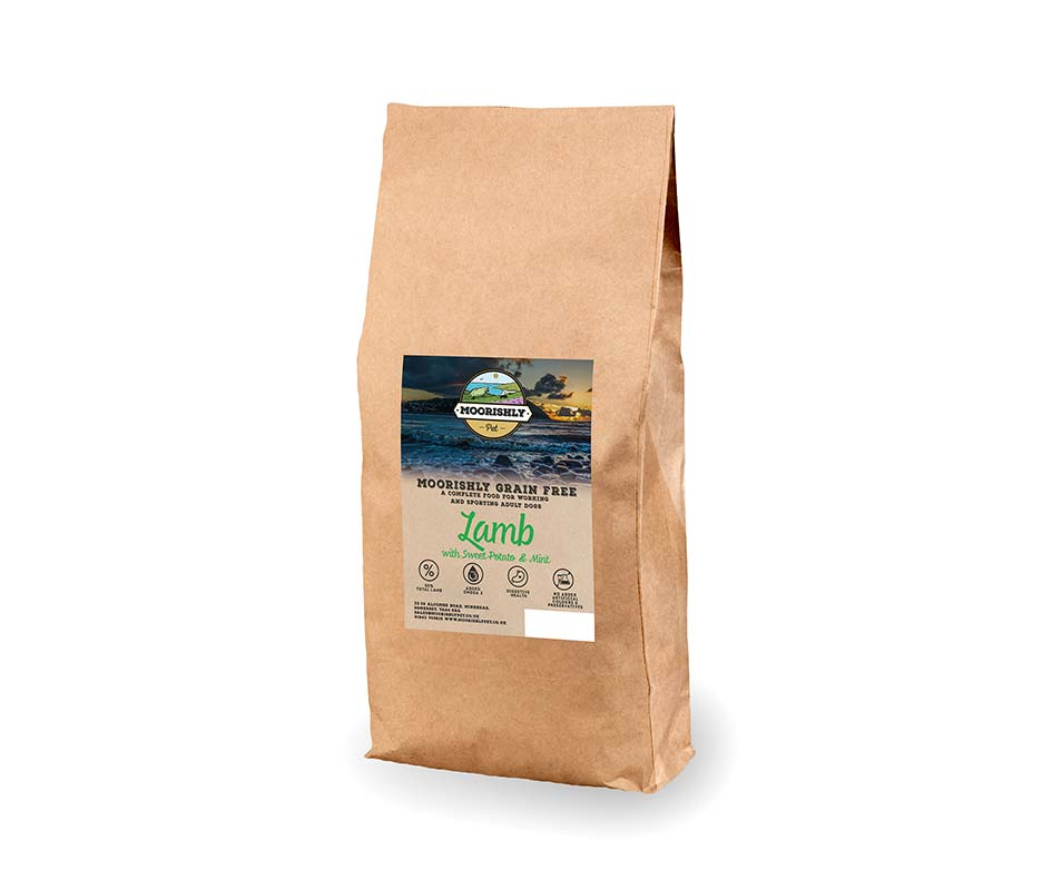 Moorishly Grain Free Working Adult Dog Food Lamb with Sweet Potato and Mint