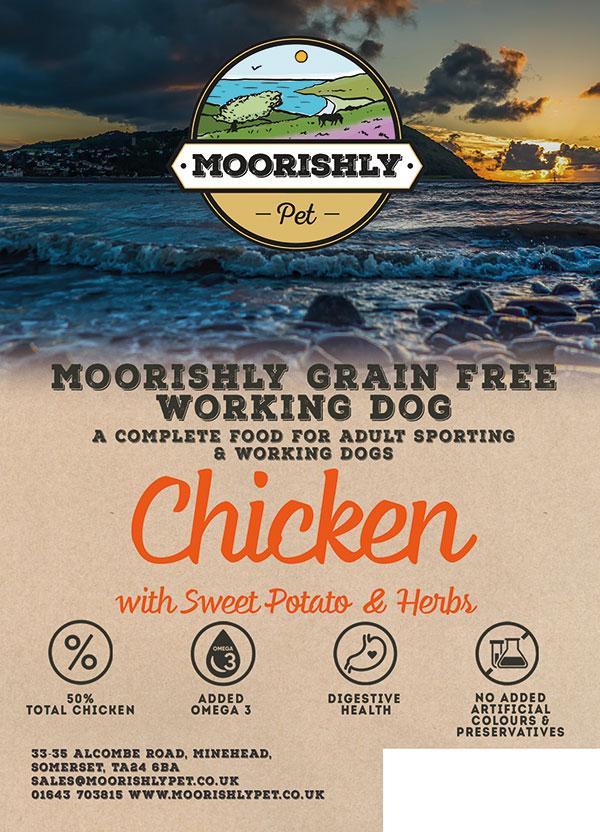 Moorishly Grain Free Working Adult Dog Food Chicken with Sweet Potato and Herbs