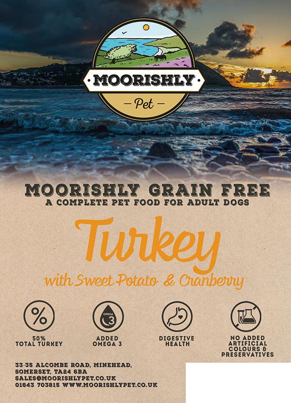 Moorishly Grain Free Premium Adult Dog Food Turkey with Sweet Potato and Cranberry