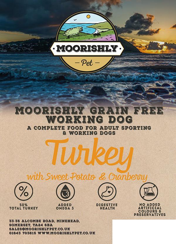 Moorishly Grain Free Working Adult Dog Turkey with Sweet Potato and Cranberry
