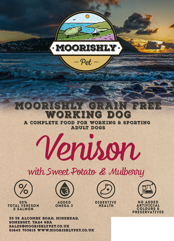 Moorishly Grain Free Working Adult Dog Venison with Sweet Potato and Mulberry
