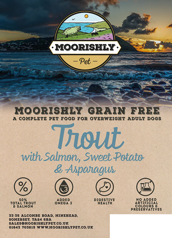 Moorishly Grain Free Adult Premium Dog Food Trout with Salmon including Sweet Potato and Asparagus Light