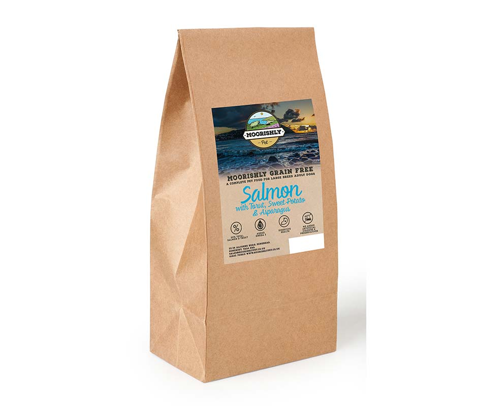 Moorishly Grain Free Adult Premium Large Breed Dog Food Salmon with Trout including Sweet Potato and Asparagus