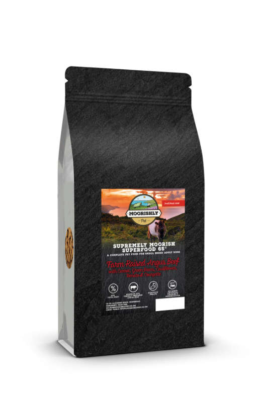Supremely Moorish Superfood 65 Small Adult Angus Beef Dog Food with Carrot and Mixed Vegetables 2KG and 12KG
