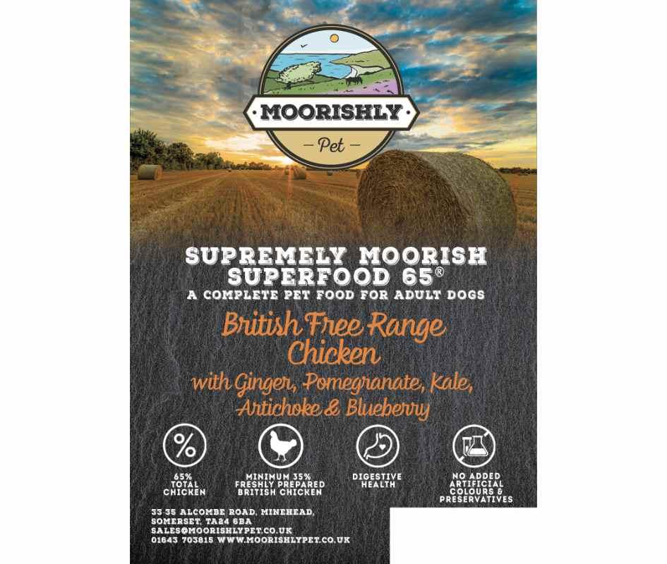 Supremely Moorish SUPERFOOD 65 ADULT British Free Range Chicken Dog Food withGinger, Pomegranate, Kale, Artichoke and Blueberry 2KG & 12KG