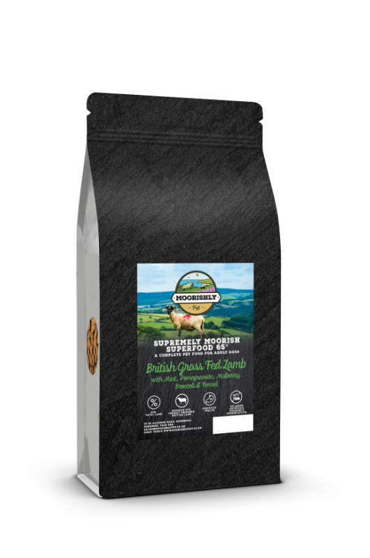 Supremely Moorish SUPERFOOD 65 ADULT Dog Food with British Grass Fed Lamb, Mint, Pomegranate, Mulberry, Broccoli and Fennel 2KG & 12KG