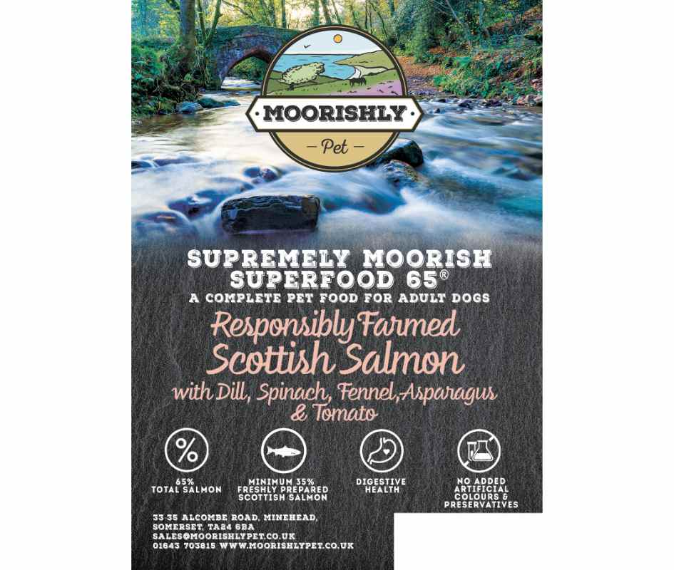 Supremely Moorish SUPERFOOD 65 ADULT Dog Food SALMON and Dill with Mixed Vegetables 12Kg